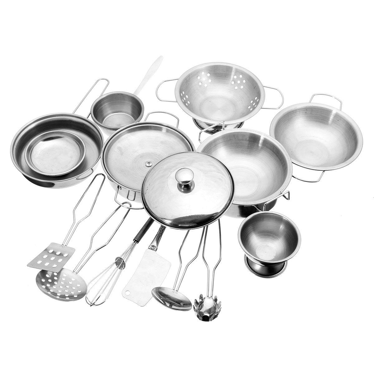 Utensilios de cocina cocina de acero inoxidable ollas sartenes de cocina en miniatura de regalo de alimentos cocinar herramientas de simulación play house toys