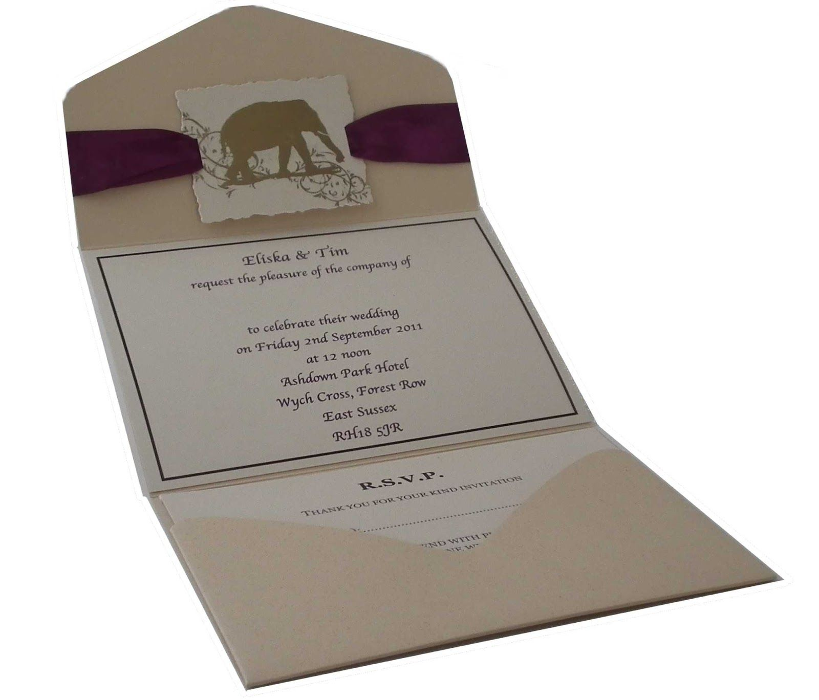 elephant wedding invitations pocketfold invitation pocketfold