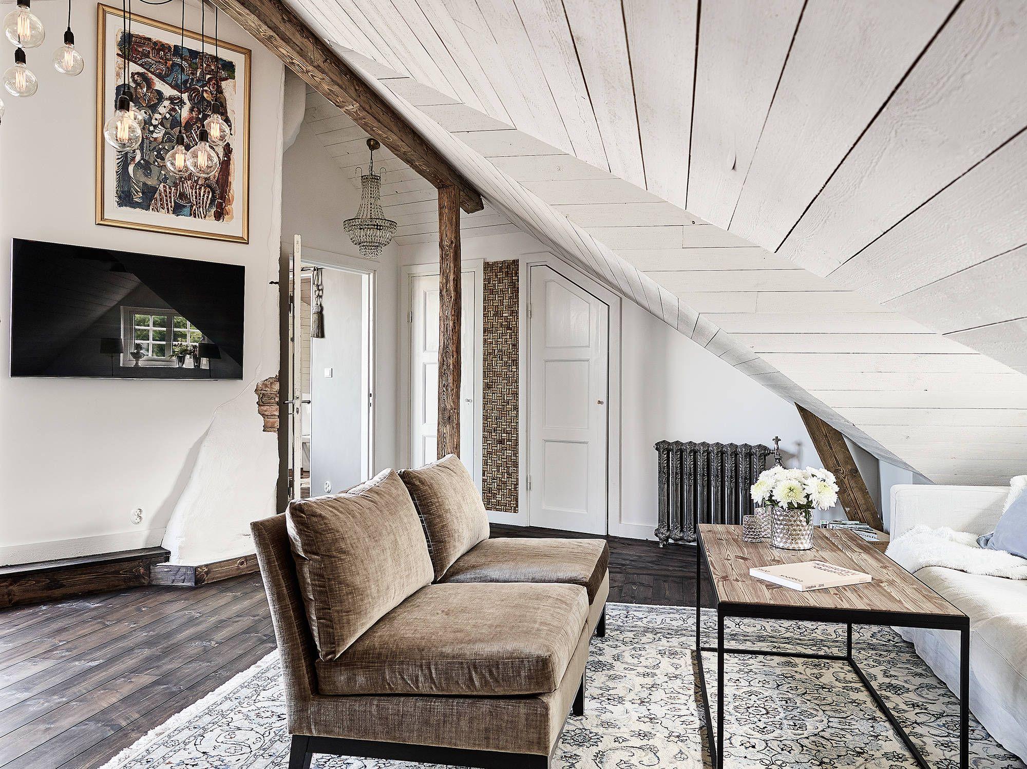 Underbar Etagel Genhet Med Tv Takterrasser Stadshem Interior  # Living Salon Bois Emplacement Tv