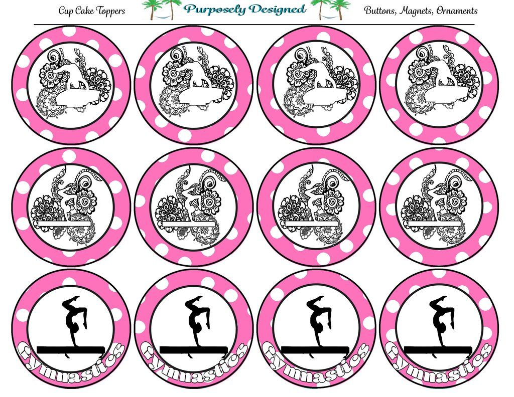 gymnastics printable cupcake toppers printable party favors rh pinterest com
