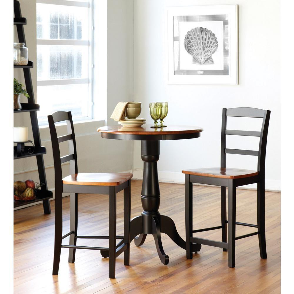 international concepts madrid 3 piece black and cherry bar table set rh pinterest com