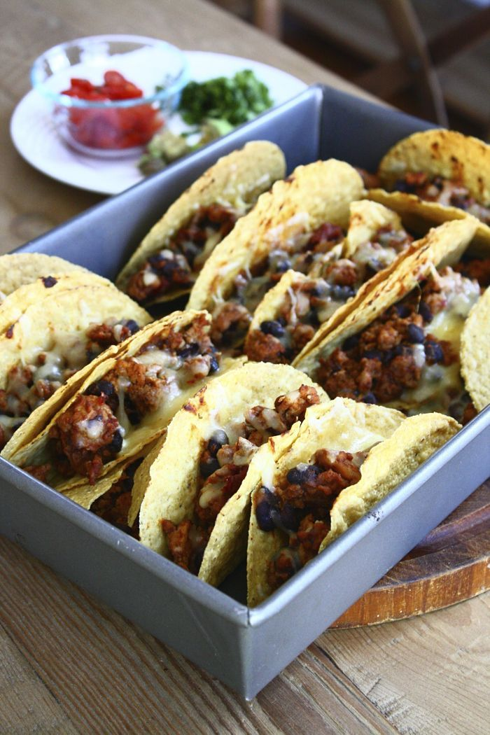 Chipotle Spiced Oven Tacos with Black Beans and Pepperjack