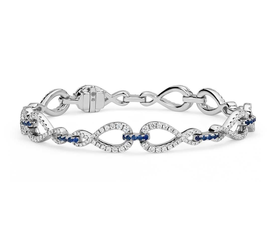 Colin cowie diamond and sapphire infinity bracelet in k white gold