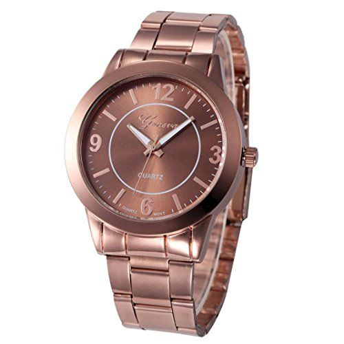5e371ad3392 XILALU Women watch Stainless Steel Sport Quartz Hour Wrist Analog Watch  Brown    Read more reviews of the product by visiting the link on the image.