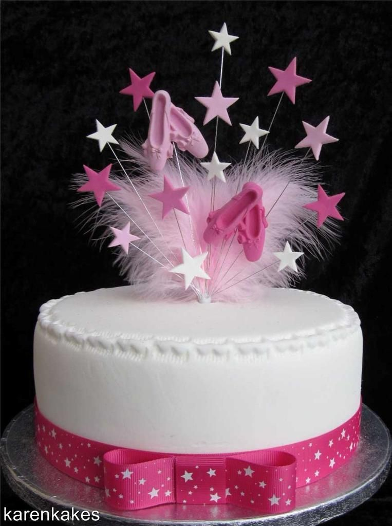 Ballet Birthday Cake Topper With Marabou Feathers And Stars - Ballet birthday cake