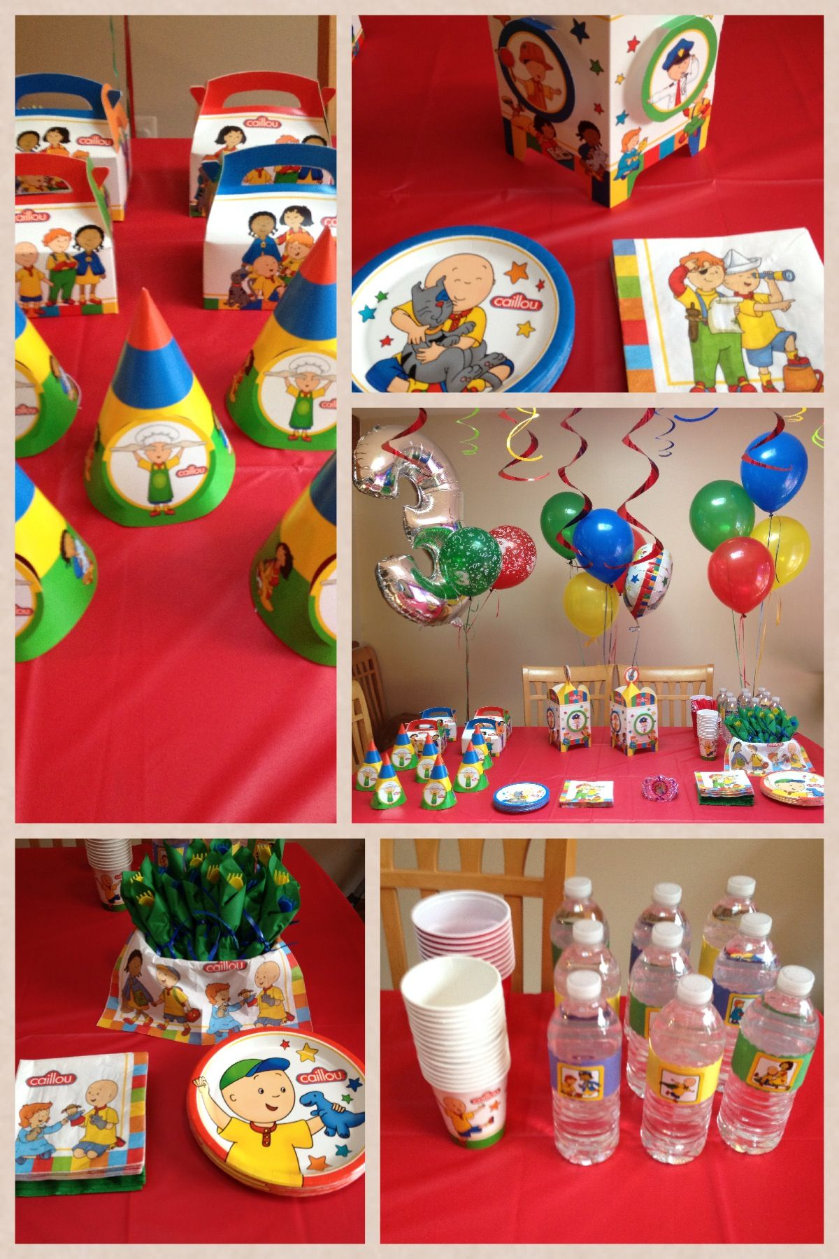 Love these Caillou party decorations Brandons second birthday
