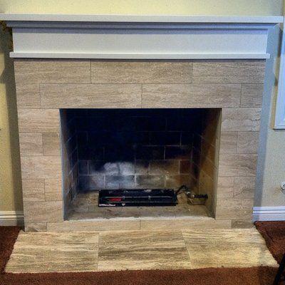 travertine tile fireplace surround custom fireplace mantle and rh pinterest co uk