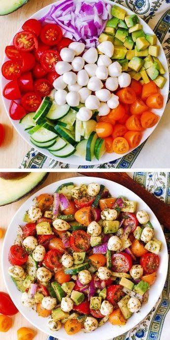 Avocado Salad with Tomatoes, Mozzarella, Basil Pesto