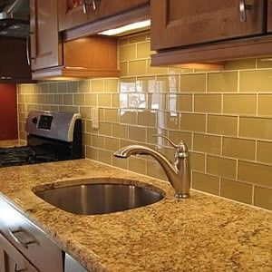kitchen backsplash beige subway tile with white grout and granite rh pinterest com
