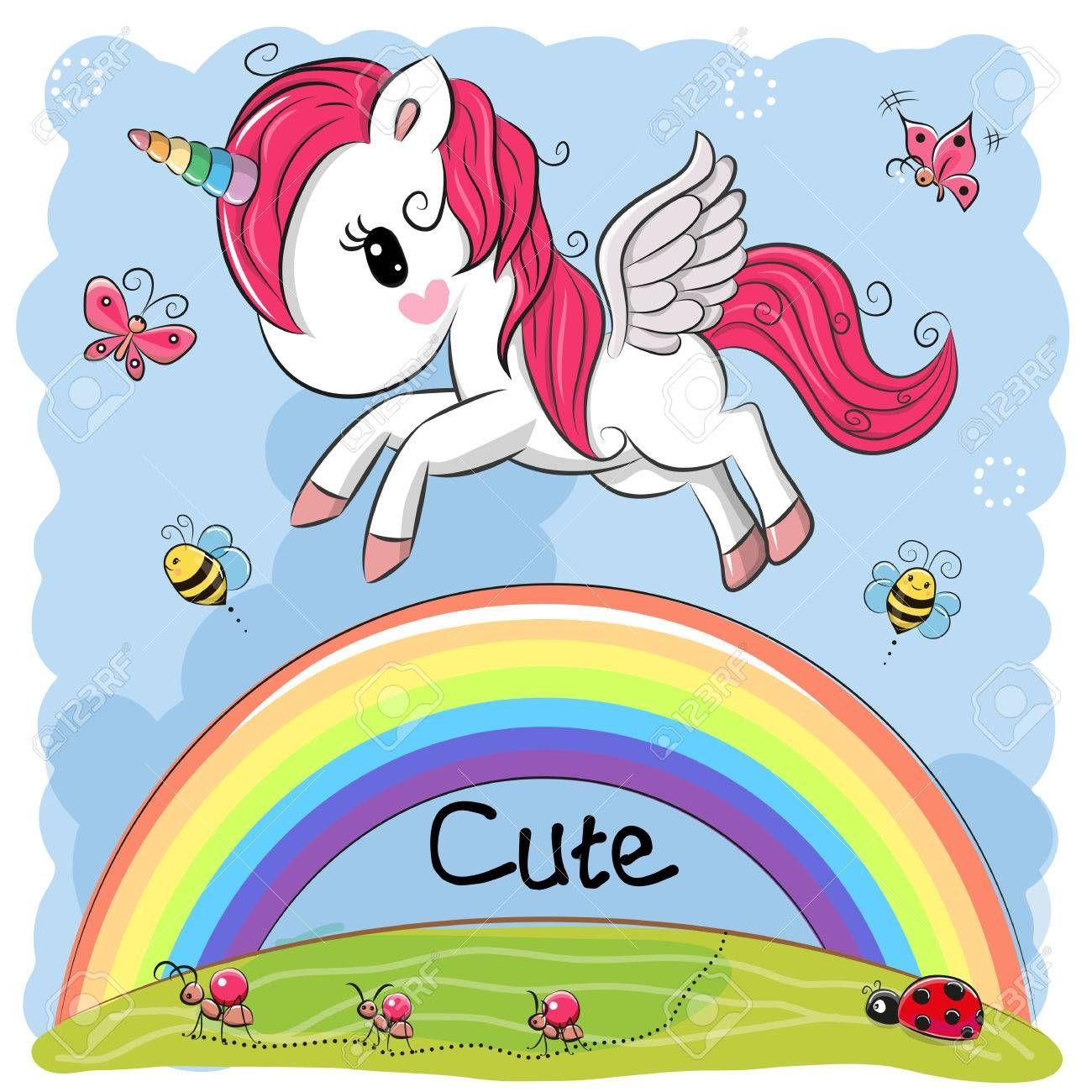Cute Cartoon Unicorn Is Flying Over The Rainbow Illustration