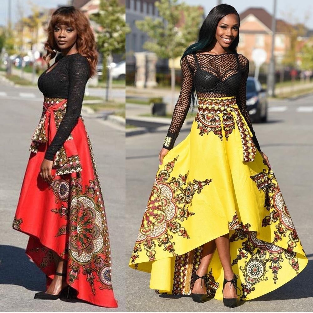 Hot women african printed summer boho long dress beach evening party