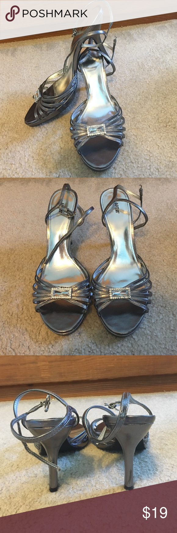 Apt. 9 Silver Heels Cute Silver Heels! From Apt. 9! Wore for homecoming twice! No trades! Apt. 9 Shoes Heels
