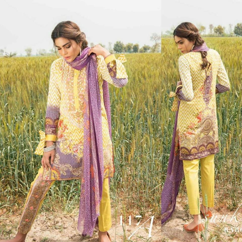#Womens #Fashion #Pakistani #Designer #Suits #Haute #Couture for #work - #Yellow Shirt #Yellow Bottom #Embroidered  #premium lawn #suits #with #chiffon #dupattas.