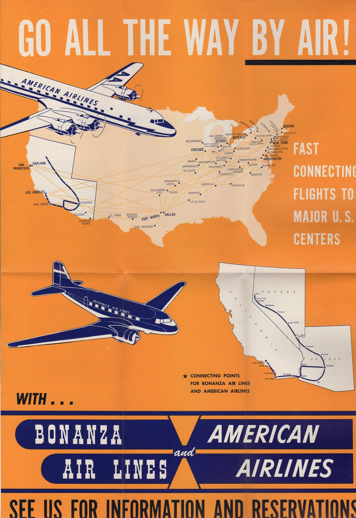 Bonanza Air Lines American Airlines Vintage Flight Rates