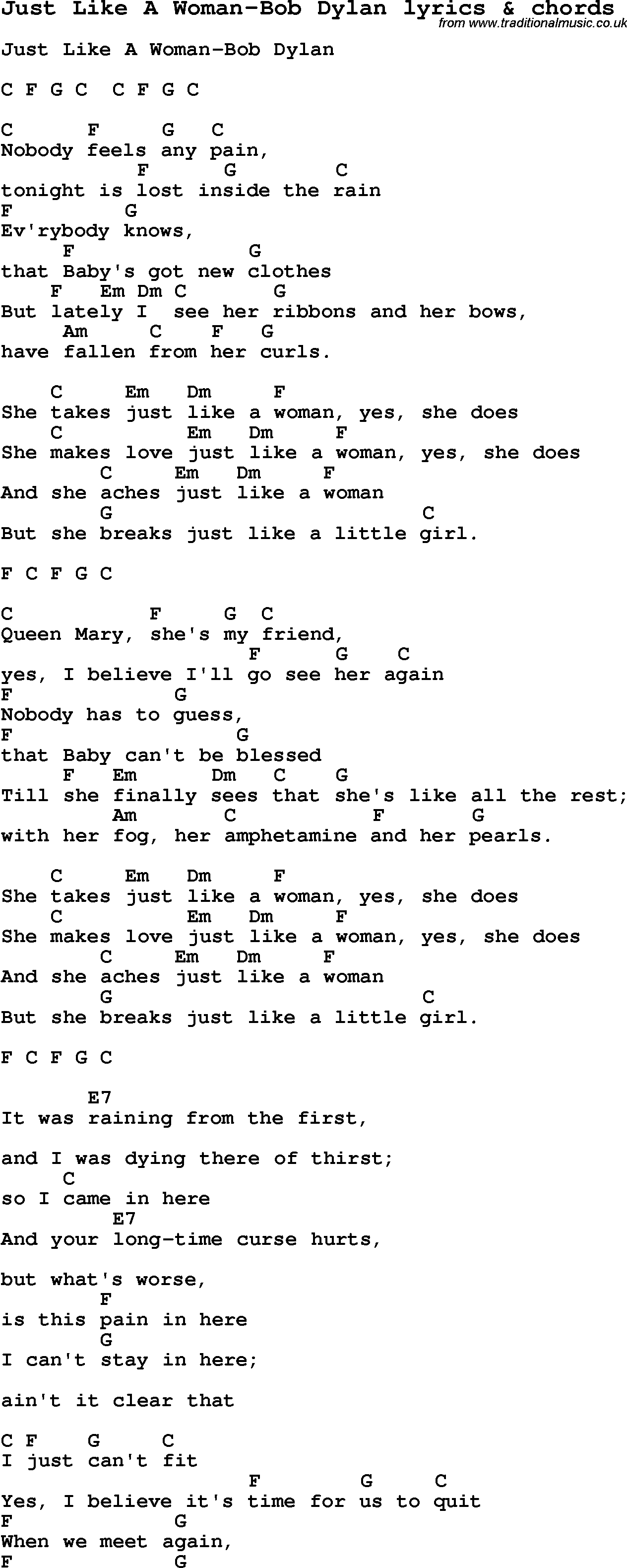 Love song lyrics for just like a woman bob dylan with chords for love song lyrics for just like a woman bob dylan with chords for ukulele hexwebz Choice Image