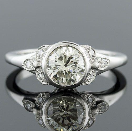 Art Deco Bezel Set Engagement Rings 1414 1 Art Deco
