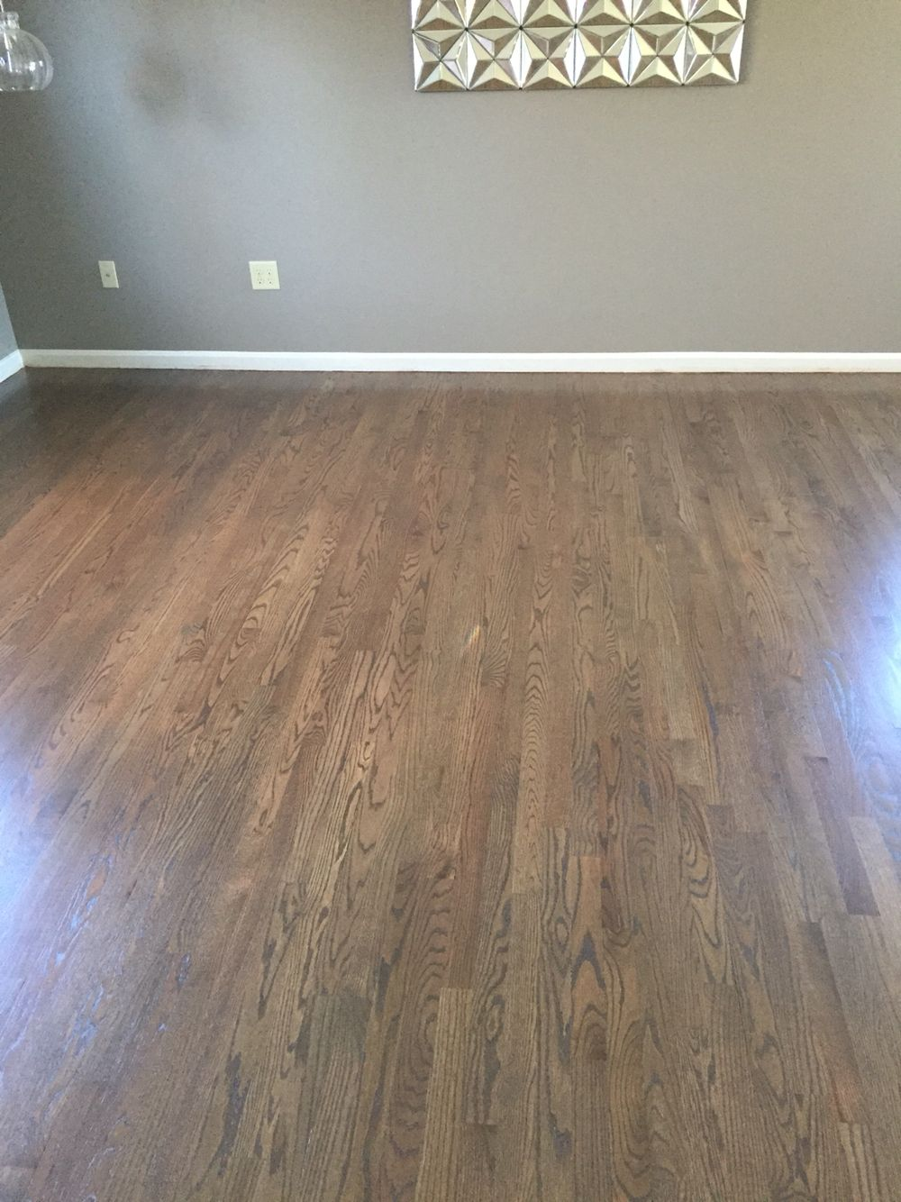 Our Re Finished Wood Floors We Created A Stain Using 3 4 Classic Gray By Minwax And 1 4 Mocha By Z Hardwood Floor Colors Classic Wood Floors Wood Floor Colors