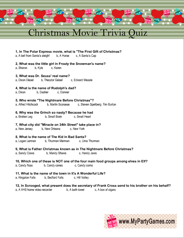 Hilaire image in christmas movie trivia printable