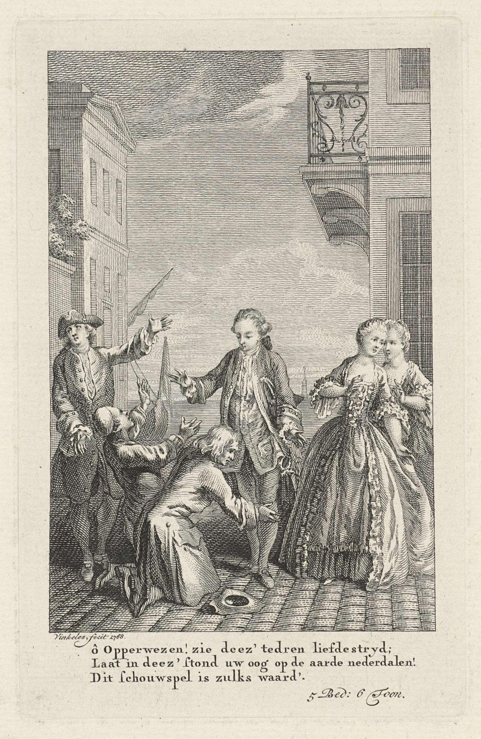 Reinier Vinkeles | Twee geknielde mannen op een kade, Reinier Vinkeles, 1768 |