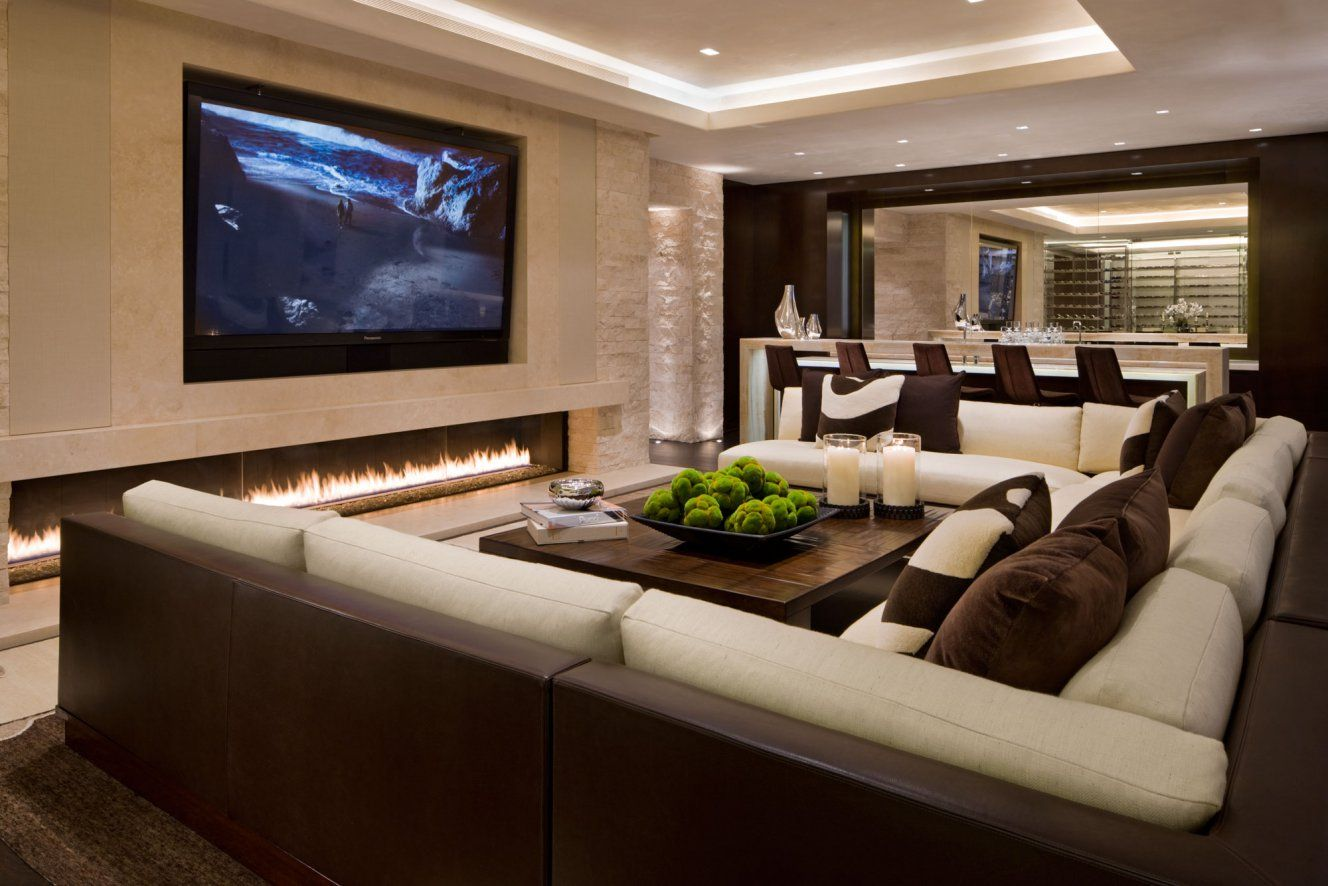 Elegant home Theater Interior Decoration with Large