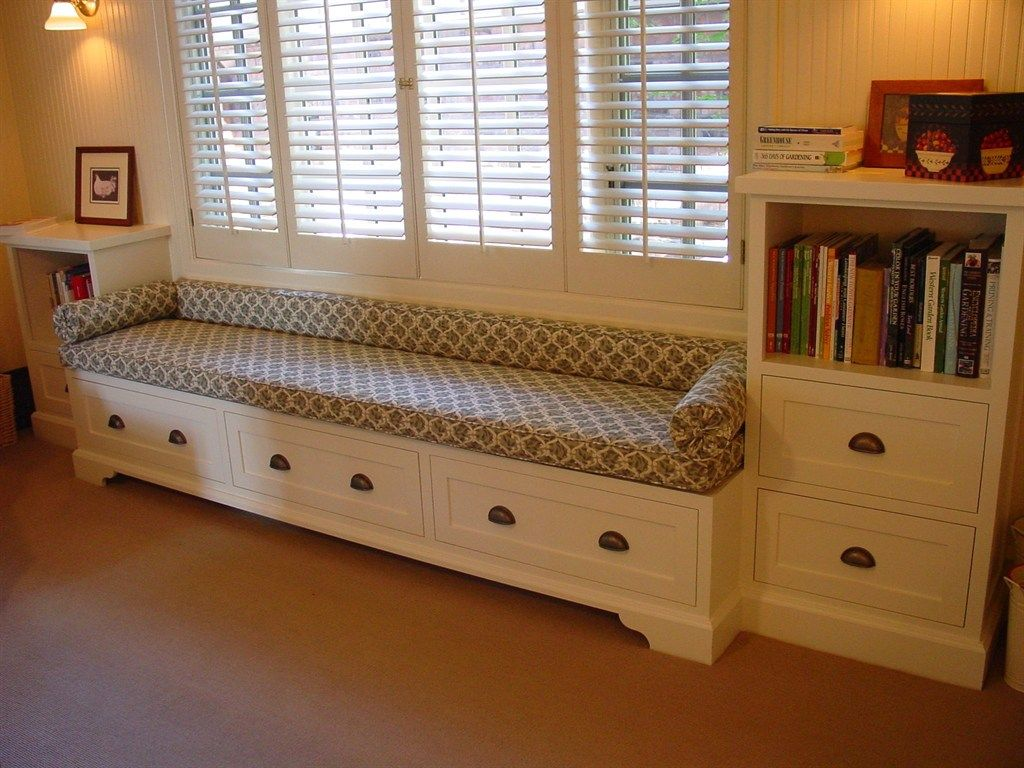 Astonishing Diy Storage Bench Seat With Drawer Build Under White Window  Panel In Living Room Idea
