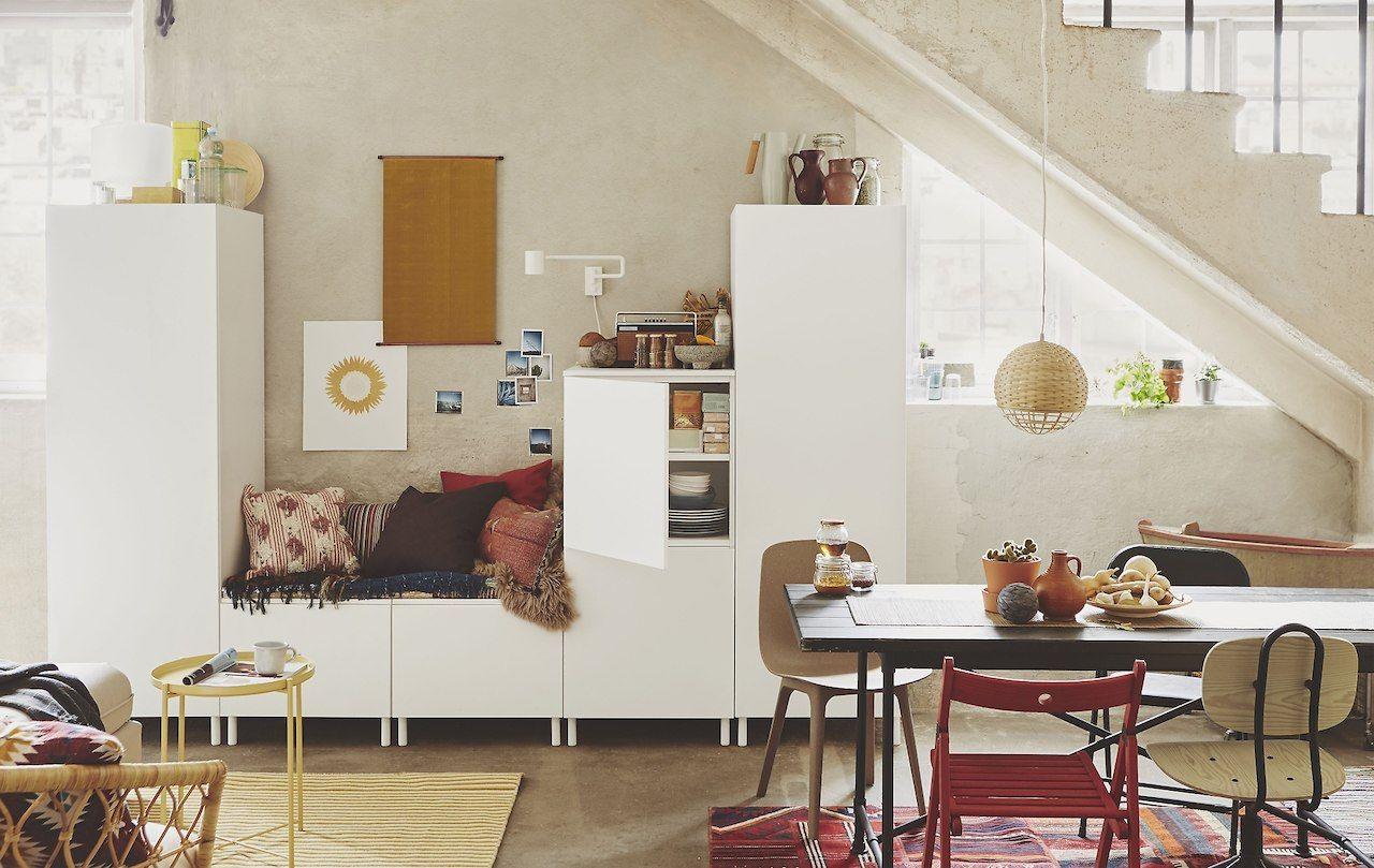 ikea plasta modular white storage cabinets in an open plan home rh pinterest com