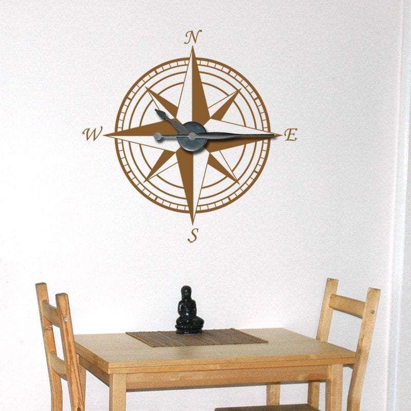 Photo of Large Compass Clock Vinyl Wall Art & Clock Kit – Tea Lime Green / Gloss