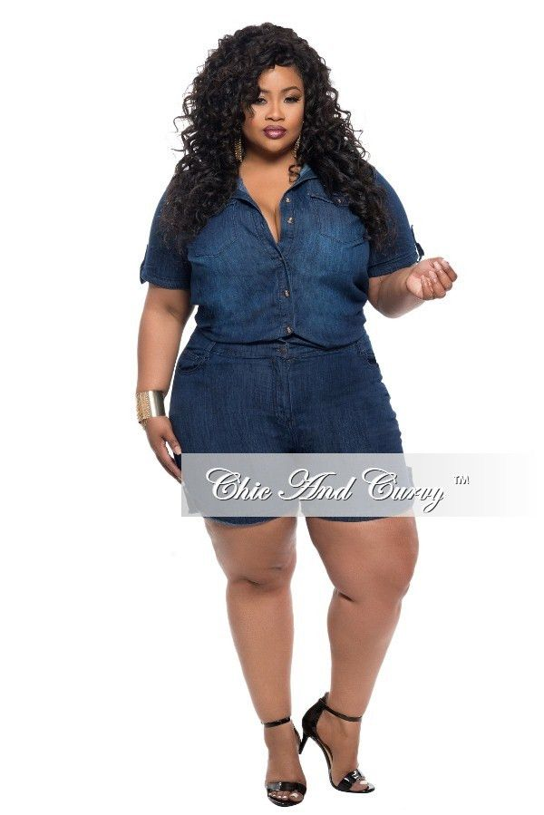 9c93b4028977 PRE-SALE ONLY New Plus Size Denim Jumpsuit Romper with Short Sleeves ...