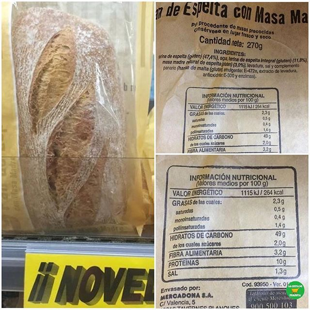 Pan 100 integral mercadona valor nutricional