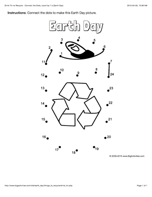 Earth Day Connect The Dots Page Featuring A Recyclable Drink Tin Multiple Puzzle Options Dot To Dot Puzzle Earth Day Dot To Dot Puzzles Earth Day Activities