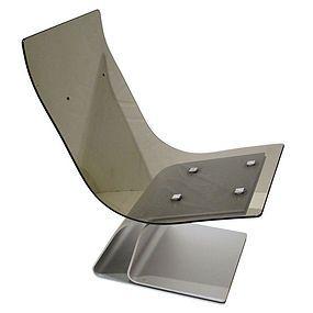 Pair Maison Jansen Aluminum  Glass Lounge Chair
