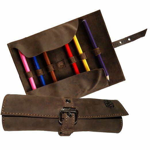 BARON of MALTZAHN Stifterolle braun 20x8x4 cm Schlamperm/äppchen HOMER aus braunem Leder Pencil Case