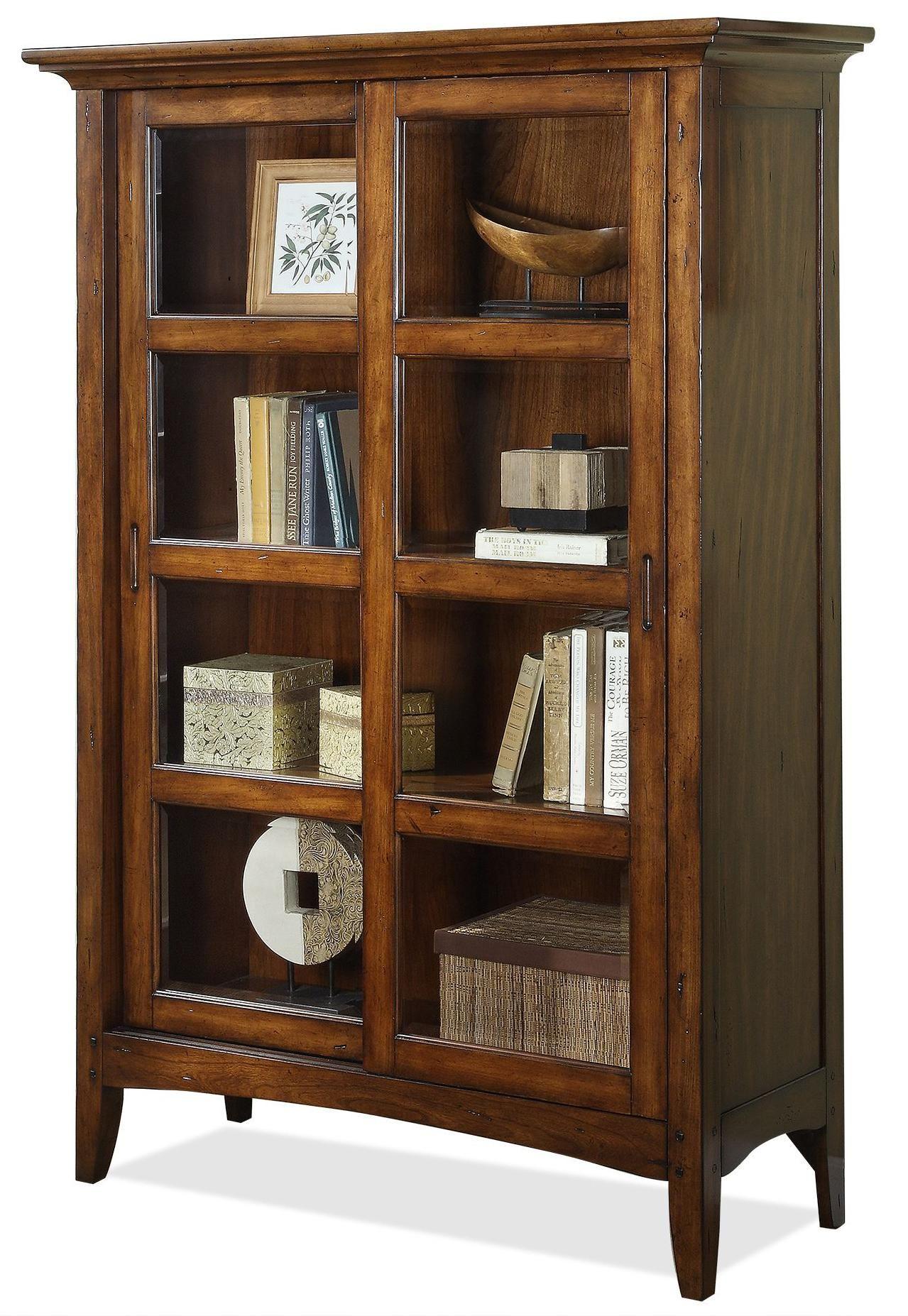 Falls Village Sliding Door Bookcase by Riverside Furniture