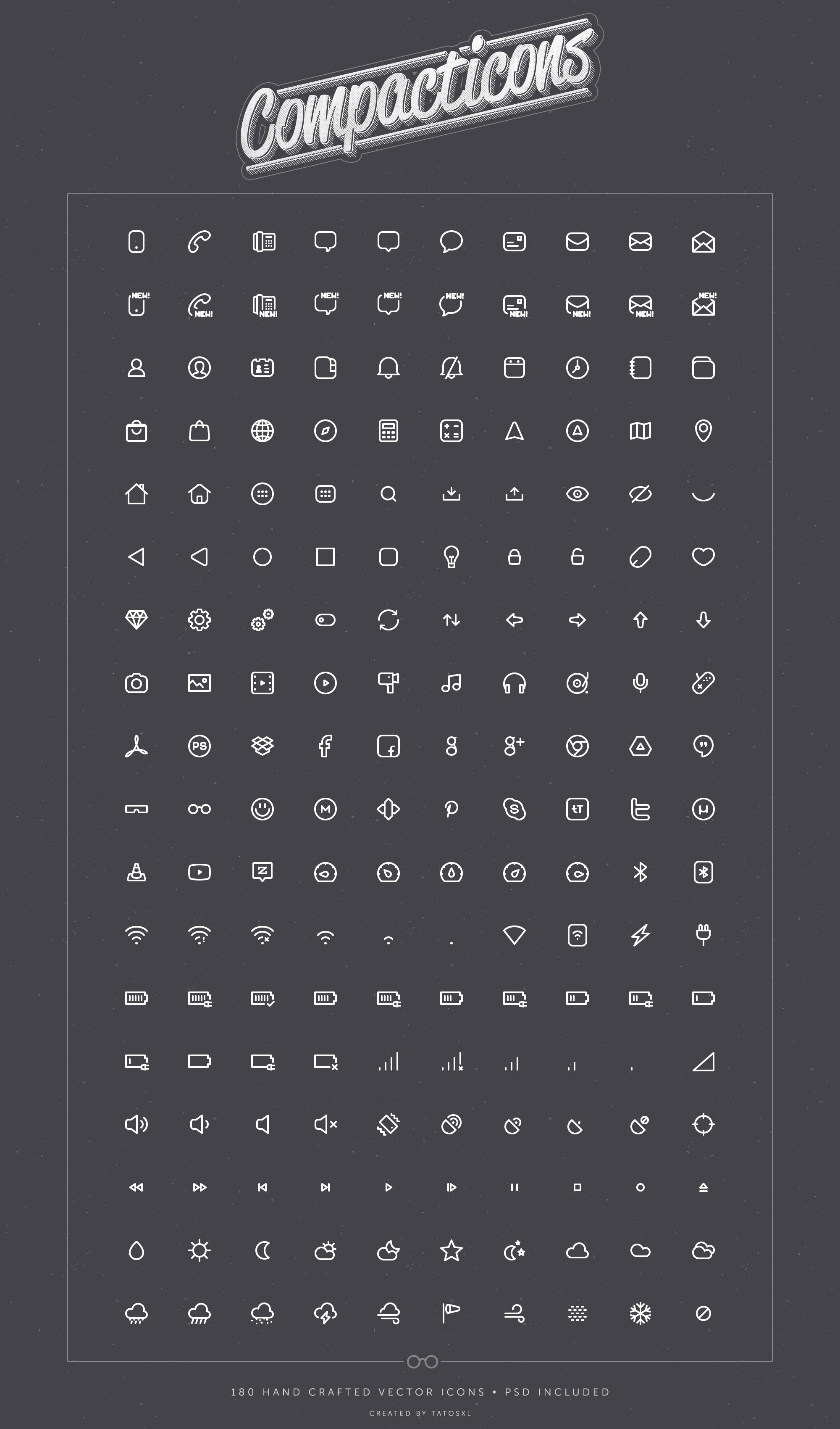 Compacticons By Tatosxl On Deviantart Minimalist Icons Icon Web App Design