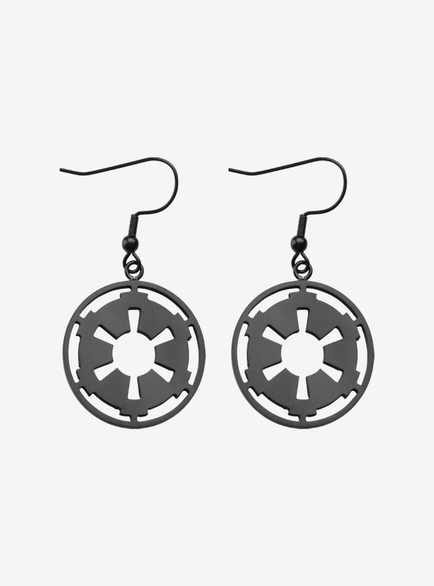 Officially Licensed Star Wars Rose Gold Tone Galactic Empire Logo Drop Earrings