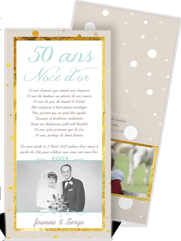 Invitation Anniversaire De Mariage Dorée Pour Célébrer Vos
