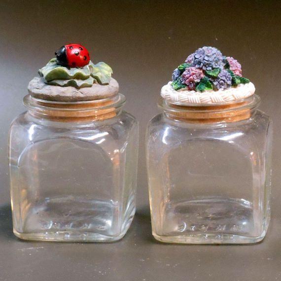 Vintage 2 pc Spring Garden Ladybug & Hydrangea flowers clear #vintage #sping #garden #ladybug #hydrangea #floral #glassware #vanitydecor #vanityjars #bottles #painted #toppers  #etsy #etsyseller #etsyshop #giftideas #cyberweek #cybermonday #etsygifts