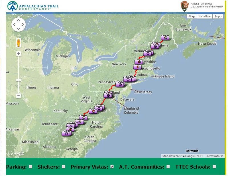 Interactive map of scenic vistas on the Appalachian Trail | Hike ...