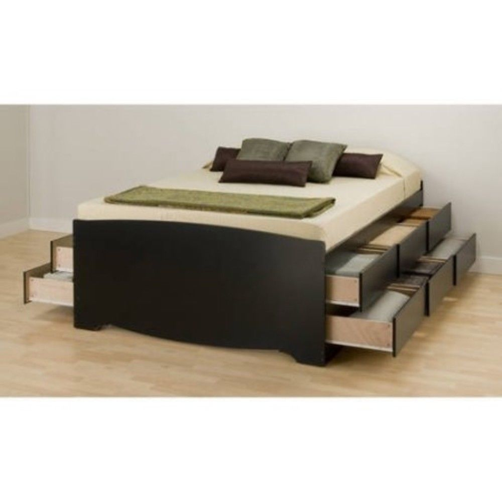Queen Size Platform Storage Bed Frame 12 Wooden Drawers Space