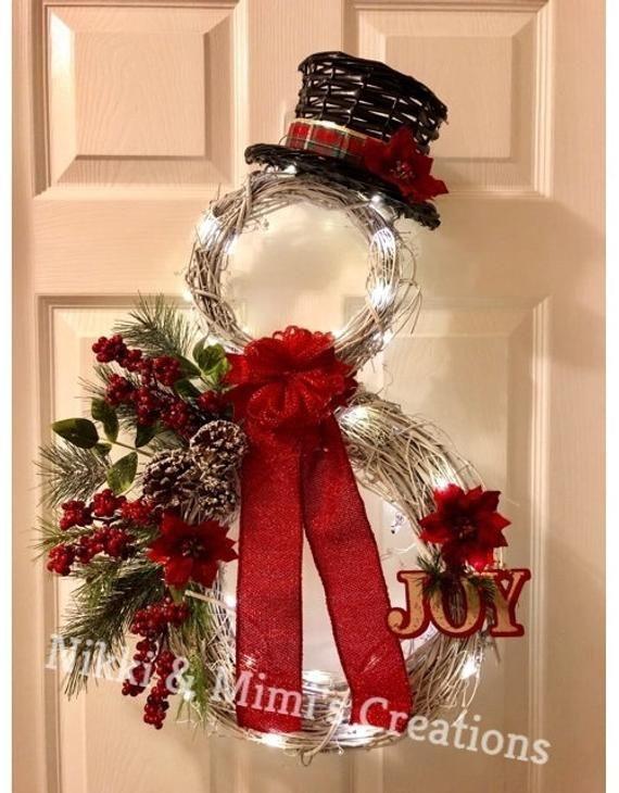Photo of LED Illuminated Snowman Christmas / Holiday Grapevine Wreath – Christmas Wreath …