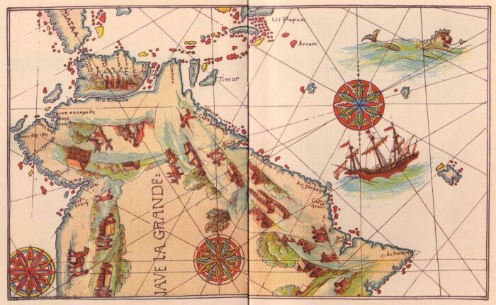 First Map Of Australia.The First Discovery Of Australia And New Guinea Dauphin Chart 1530