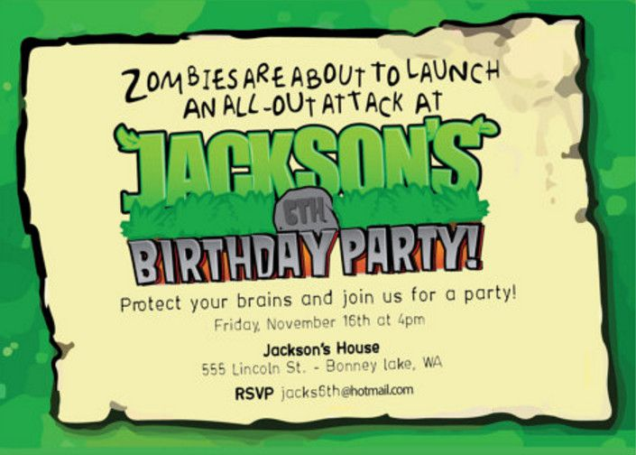 zombie birthday party invitation template Pinteres
