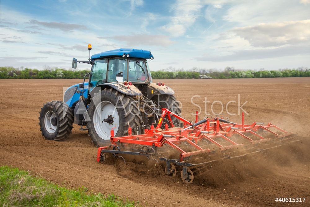 Fotobehang Nikkel Art.Fotobehang Small Scale Farming With Tractor And Plow In