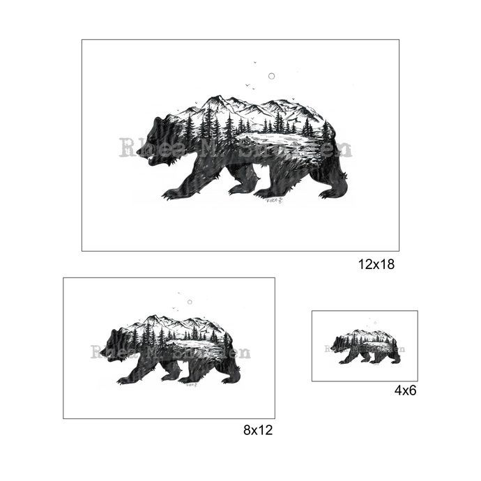 Bear Mountain Art Print: Nature, Grizzly Bear, Morphed Animal ...