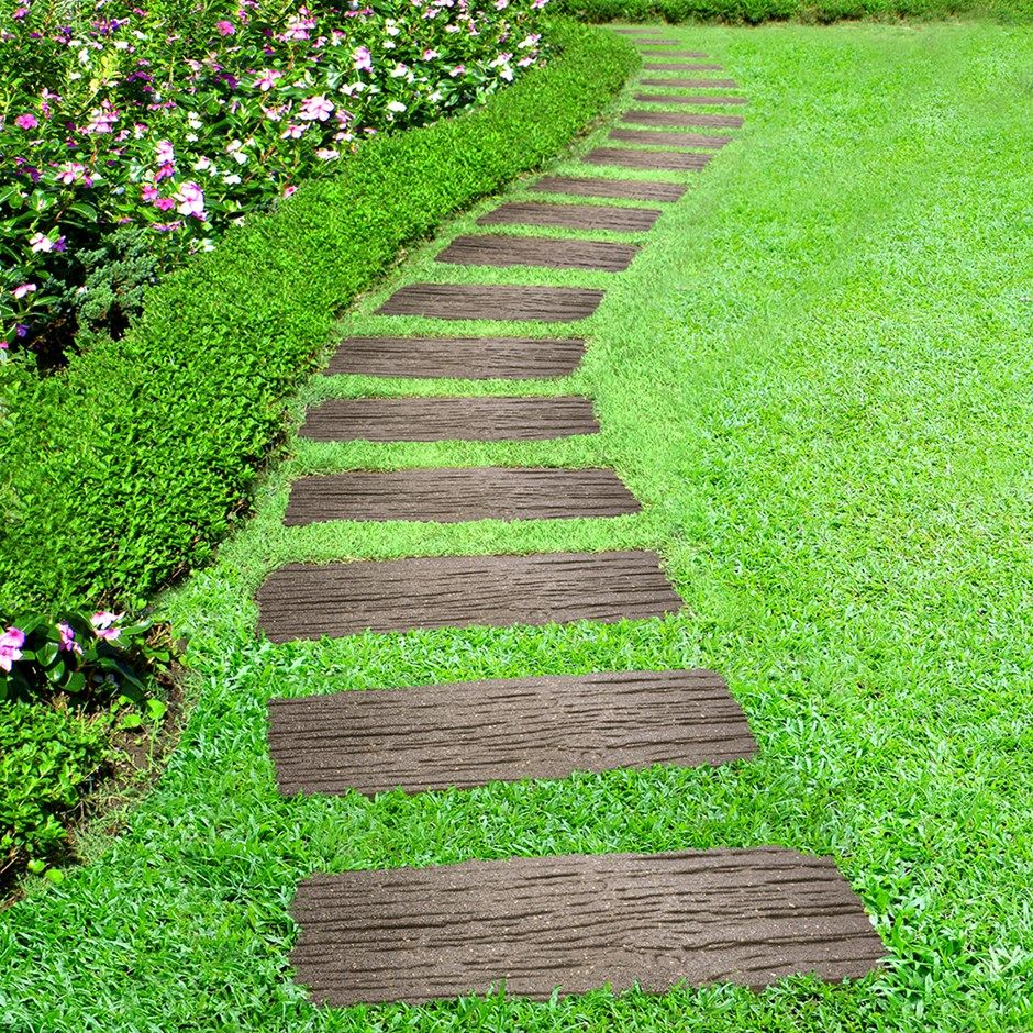 Recycled rail road tie stepping stone | Railway sleepers, Stone and ...