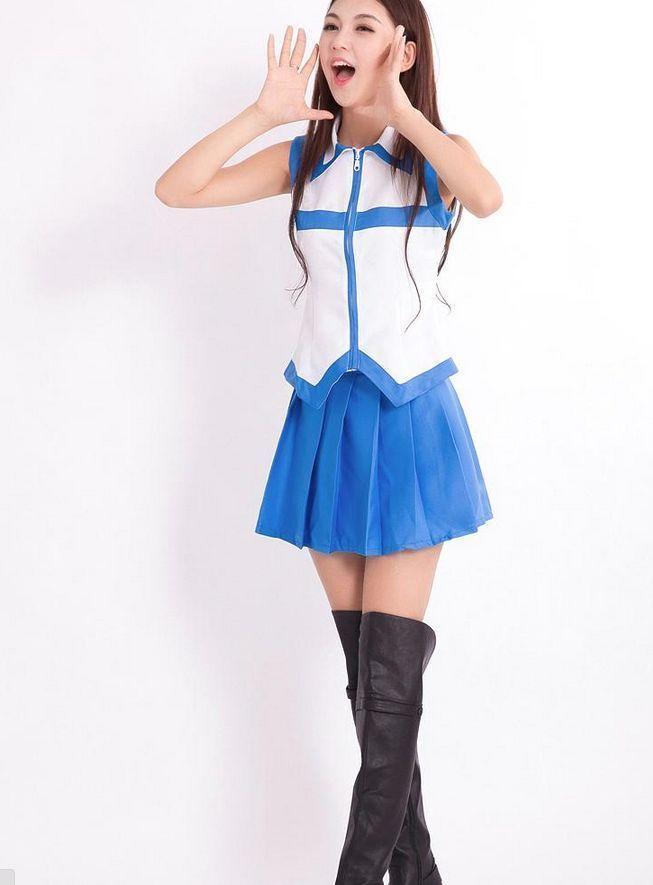 Fairy Tail Lucy Heartfilia Cosplay Uniform Sleeveless Skirt Full Set Costume