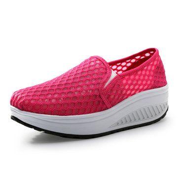 Mesh Pure Color Breathable Platform Slip On Rocker Sole Shoes