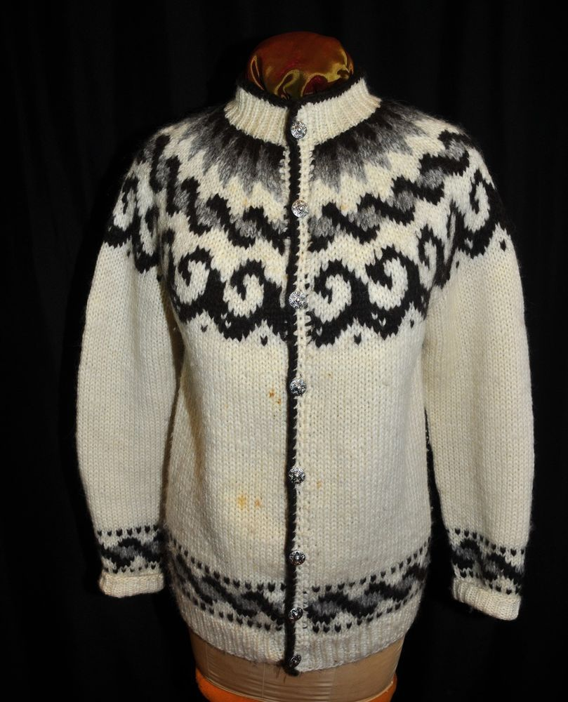VTG Authentic Hilda LTD Sweater Iceland Large 100% Wool Handknit ...