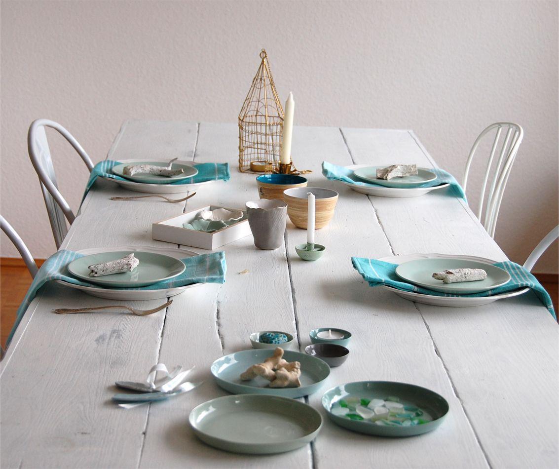 Tischdeko In Aqua Farben Zimmergestaltung Aqua Farbe Do It
