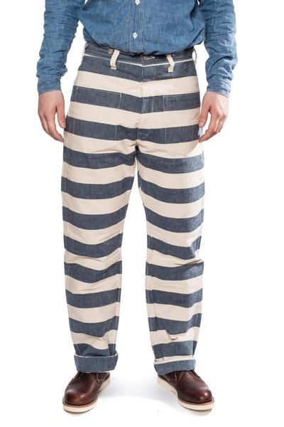 d239282ffaa04f Warehouse Brown-Duck   Digger 1091 Prison Pants (Blue White)